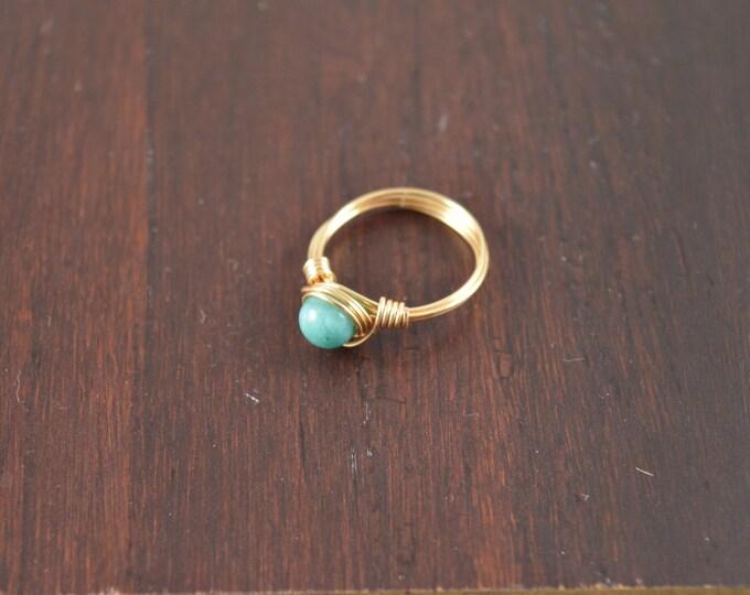 Amazonite Wire Ring