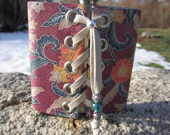 Floral Leather Covered Flask \ Stainless Steel Hip Flask w/ Funnel  Flower Printed Leather LAce up Corset Style  Z1017