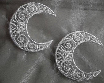 Crescent moon lace applique, white on silver organza