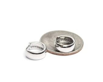 """Sterling Silver Huggie Hoop Earrings (1/2"""" in diameter)"""