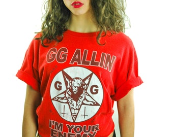 Vintage GG ALLIN Shirt 90s Tee 90s Shirt Punk Rock Hardcore Red Pentagram Im Your Enemy Black Flag Band Tee The Misfits Slayer