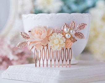 Rose Gold Wedding Bridal Hair Comb Blush Pink Cream White Pearl Rhinestones Leaf Branch Rose Floral Comb Nudes Natural Tones Hair Piece