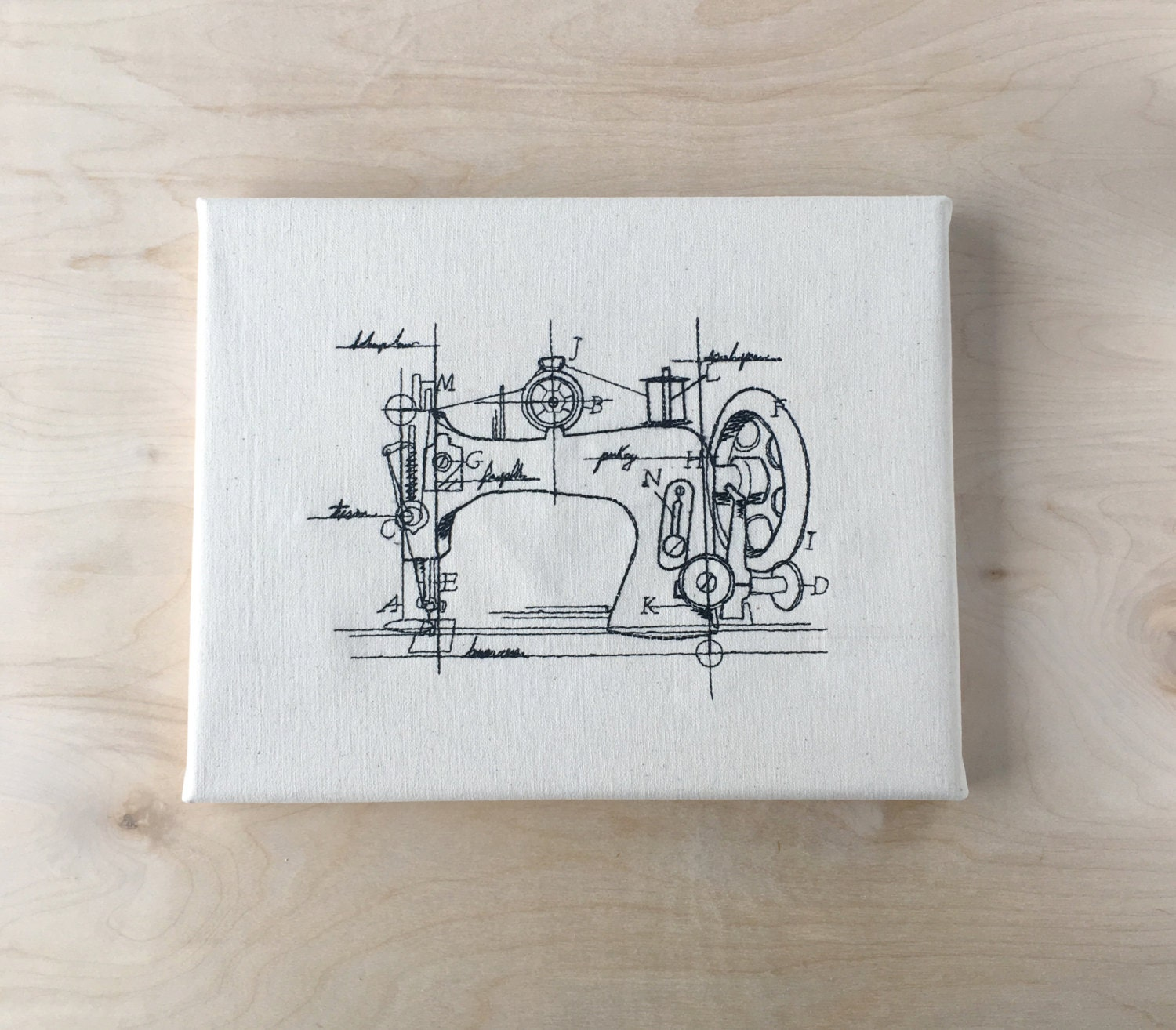 Embroidered Canvas Wall Art Vintage Sewing Machine