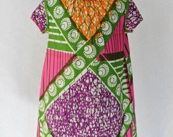 Pink, orange and green African Print girls dress