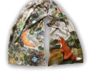 Moon and Fox, painted khaki silk scarf, hand printed tree leaves, eco friendly, nature motives, cute animal, batik, earth colors, evening