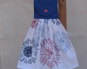 July 4th Fireworks Kitchen Towel, Picnic Towel, Hanging Dish Towel, Patriotic Towel, Red White Blue