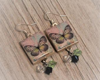 Green Butterfly Earrings / Scrabble Tile Earrings / Boho chic / Choose Butterfly or Dragonfly / Optional Swarovski Crystals / Custom Made