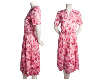 Vintage tropical floral shirtdress -- vintage pink day dress -- size small / medium / xs