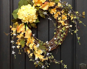 Spring Wreath Summer Wreath Floral White Green Branches Door Wreath Grapevine Wreath Decor-Yellow-Lilies Wispy Easter-Mothers Day