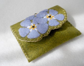 Felt Card Case,  Forget-Me-Not Flower Card Holder,  Magnetic Closure, Standard Business Cards, Credit Cards, Olive Green Wool Blend Felt