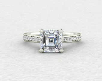 Classic Accented 6.5mm Asscher Forever One and Conflict Free 1/4 carat Genuine Diamond Engagement LCDA038
