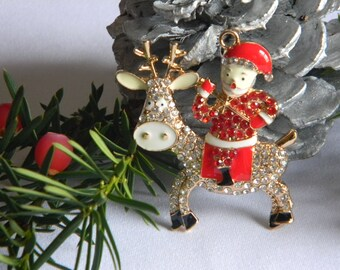 Santa Claus Pendant with Reindeer and Rhinestones for Bubble Necklace Key Chain Zipper Pull Christmas Jewelry Holiday Gift Ornament Charm