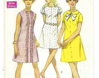 Vintage 60s Simplicity 8189 Dress Pattern for Women 1960s A line Shift Dress Mini dress Bust 36 Size 14 Women's sewing pattern