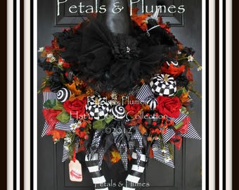 "PRE-ORDER for ""2017""Delivery-Halloween Wreath-""Wicked Witch w/ Ruby Red Shoes"" Petals & Plumes ORIGINAL Design(Final 3 Available for 2017)"