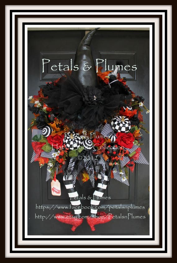 """PRE-ORDER for """"2017""""Delivery-Halloween Wreath-""""Wicked Witch w/ Ruby Red Shoes"""" Petals & Plumes ORIGINAL Design(Final 3 Available for 2017)"""