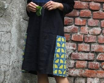 Women's linen dress, black linen, black dress, ethnic clothing, black ethnic dress, boho dress, linen tunic. Made in Italy. Ready to ship.