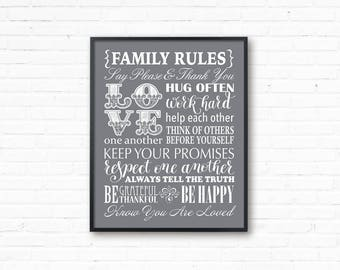 Family Rules, Family Rules Gray Art,  printable family rules, Instant download, Family rule print, family rule sign, gray white family rules