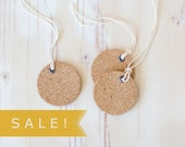 Cork Small Round Gift Tags with Twine - 6 pc - SALE!