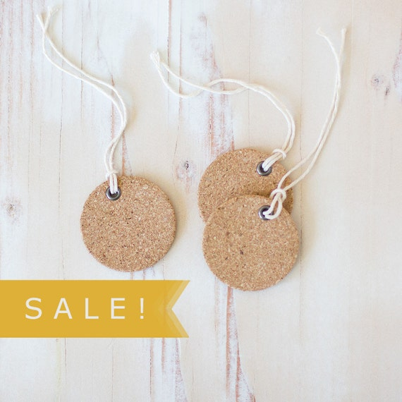 """Cork Small Round Gift Tags with Twine - 6 pc - 1.75"""" - SALE!"""