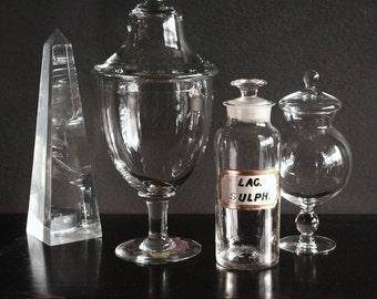 Apothecary jar, antique pharmacy bottle, Lac Sulph bottle