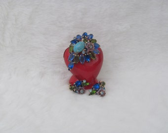 Vintage Rhinestone and Faux Turquoise Cabochon Brooch and Clip Earrings Blue Tones Green Lavender Flower Pin Unsigned Beauty