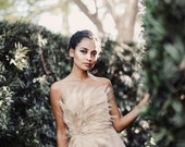 Couture Champagne Peacock Feather Dress