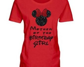 Glitter Mother of the Birthday Girl Minnie Mouse Shirt, Mother of the Birthday Girl Top, Minnie Birthday Girl Shirt, Disney, Ready to Ship