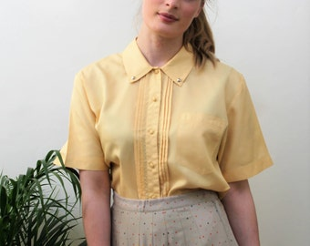 Principles Silky Yellow Blouse with Studded Collar Size UK 10/12, US 6/8, EU 38/40