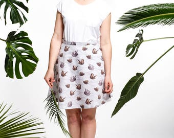 Handmade sloth skirt, sloth fabric, half circle skirt