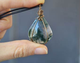 Moss Agate Necklace, Black Friday, Sale, Moss Agate Jewelry, Gifts For Her, Stocking Stuffer, Dark Green Stone Necklace, Gemstone Jewelry