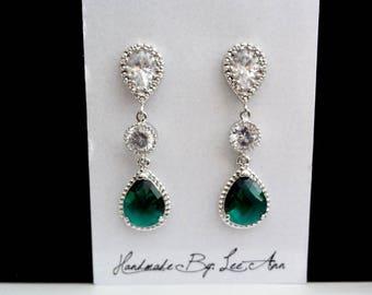 Emerald earrings,Long emerald teardrops earrings,Brides earrings,Sparkling Czech glass and Cubic zirconias,Sterling posts,Wedding earrings -
