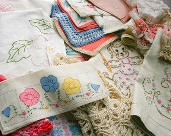 Bundle of Vintage Bulk Cutter Linens, Over 2 Pounds, White Robin Vintage