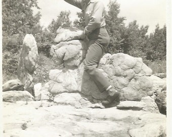 "Vintage Snapshot ""Searching The Horizon"" Rock Formation Man Looking Out Shading Eyes Found Vernacular Photo"