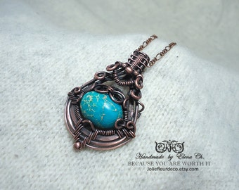 Blue Sea sediment jasper pendant Copper necklace  Wire wrapped jewelry Heady wrap necklace Boho jewelry Gift for girlfriend Turquoise