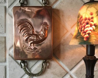 80's Copper Rooster Kitchen Mold  / French Country Kitchen Wall Decor