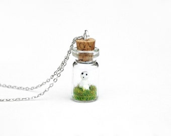 Kodama Forest Spirit Necklace, Fantasy Bottle Necklace; Anime Gift for Her - miniature Mononoke kodama spirit in a tiny glass bottle - 2.5cm