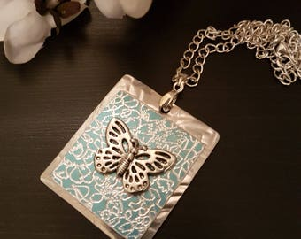Teal Butterfly Necklace