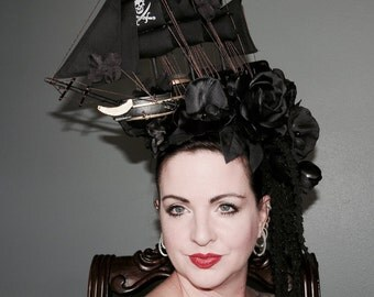 BLACK DEATH PIRATE  Pirate ship Style Headdress  Marie Antoinette