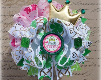 St. Patrick's Day Hair Bow, Shamrock Bow, Large Green Bow, Over the Top Irish Hair Bow
