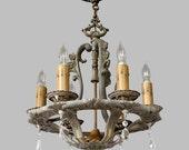 Reserved for Kathie -FREE SHIP-1920s Antique Chandelier, Antique Ceiling Lighting, Vintage Lighting, Vintage Chandelier, Decorative Lighting