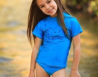 Girls Swimsuit - Blue Swimsuit - Rash Guard Swimsuit - Baby Girl Swimsuit - Toddler Swimsuit - Swimwear - Two Piece Swimsuit Girls - Swim