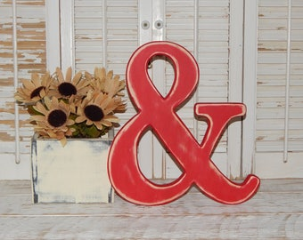 "Wooden Ampersand Sign Distressed 12"" Tall Wall Decor Made To order"
