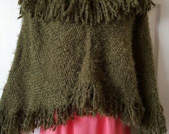 Loom Knit handmade Poncho