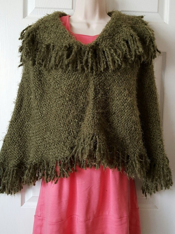 Loom Knitting Poncho : Loom knit handmade poncho
