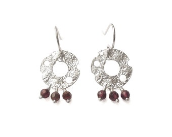 earrings 925 silver  , garnet