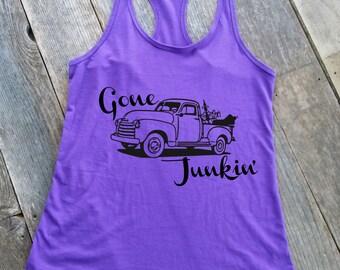 Junkin Tank | Gone Junkin Tank | Treasure Finding Tank | Women's Tank | Racerback Tank | Gone Junkin Shirt | Junk Shirt | Gone Junkin