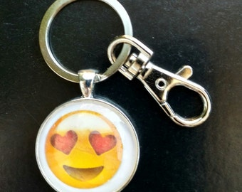 Emoji with Heart Eyes-Love Emoji Keychain-Emoji Pendant-Emoji Charm-Emoji Necklace-Hearts-Love-Purse Charm-Rolo Chain