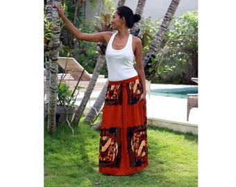 Dark Orange Maxi Skirt / Elastic Skirt / Long skirt with Pockets / Rayon Skirt with Abstract Print