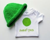 HAND EMBROIDERED Sweet Pea Gift Set - Baby Gift Set - Hand Knit Sweet Pea Hat Sweet Pea Bodysuit / Sweet Pea Onesie - Baby Girl or Baby Boy