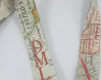 Map Lanyard - Monogrammed - Fabric Lanyard - Personalized - Cartography Badge Holder - World Map - Geography - Initials - Embroidered